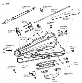 Tvarové pouzdro pro housle JAEGER Prestige Náhradní potah samet/plyš (údaj o barvě)
