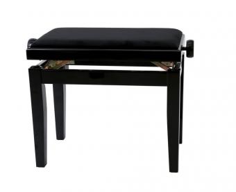 Piano stolička Deluxe Černý vysoký lesk Černý potah JB2