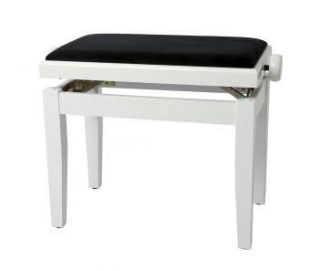 Piano stolička Deluxe Bílý vysoký lesk Bílý potah JB2