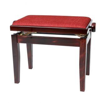 Piano stolička Deluxe Mahagon vysoký lesk Bordeaux potah JB2