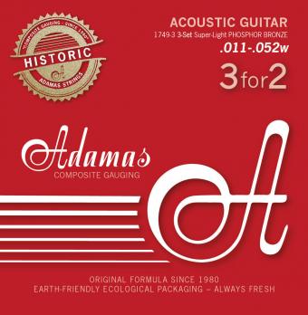 Adamas struny pro akustickou kytaru Adamas Phosphor Bronze Historic Reissue 3-tá sada Ex-Light .010 1717-3
