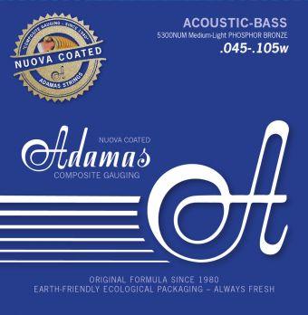 Struny pro akustický bas Adamas Nuova coated Sada 4-string Med-Light 5300NU-ML