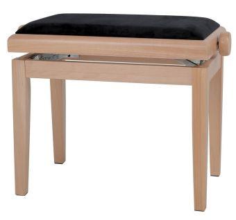 Piano stolička Deluxe Natur - matné provedení Černý potah JB2