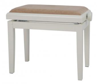 Piano stolička Deluxe slonovina - vysoký lesk Béžový potah JB2