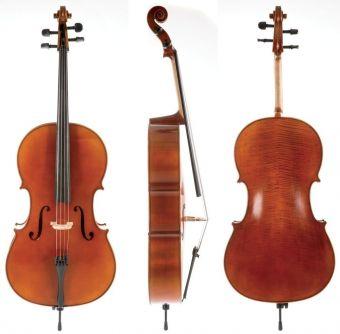 Cello Allegro-VC1 3/4 Setup, včetně povlaku, karbon smyčce, Thomastik-Infeld AlphaYue / Larsen Crown strun