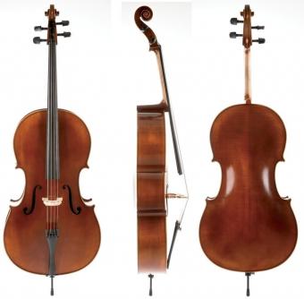 Cello Ideale-VC2 3/4 Setup, včetně povlaku, karbon smyčce, Thomastik-Infeld AlphaYue / Larsen Crown strun